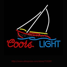 Super Bright Neon Bulbs Coors Light Sail Boat Neon Sign Commercial Custom signs For Bar Neon Lamp Attract Real Glass Tube 17x14(China)