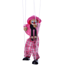 Random Color Pull String Puppet Clown Wooden Marionette Joint Activity Doll Vintage Child Toys Funny Practical Jokes Toy