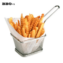 New Arrive1 PC Stainless steel French Fries Basket Food Class Wire Woven Kitchen Skimmers Chips Strainers Kitchen cooking Tool(China)
