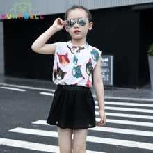 Kids Girls Summer Clothes Cartoon Cat Design T-shirt+Skirt 2pcs Baby Girls Outfits Toddler Clothing Set Tutu Vestido L397