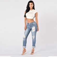 Women Jeans 2017 Spring Western Fashion New Sexy Slim Ripped Hole Springy Jeans