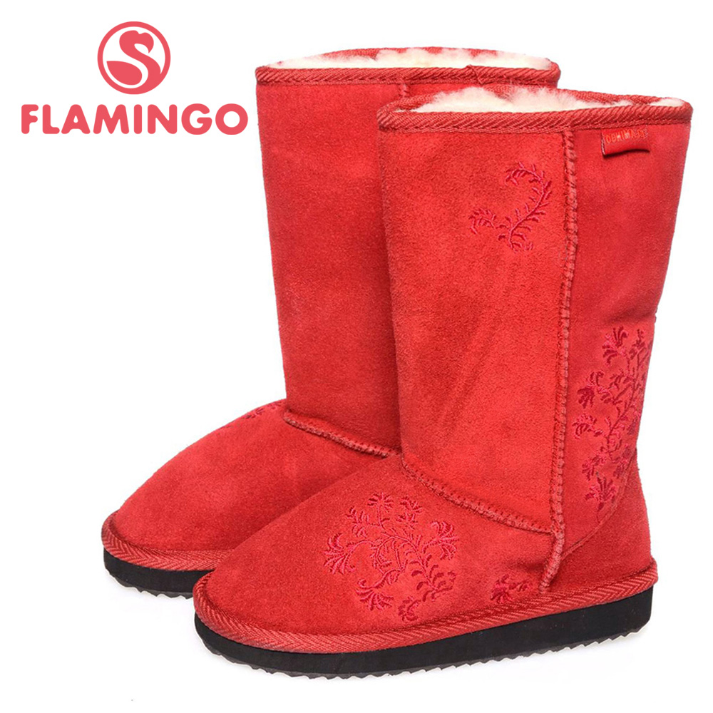 FLAMINGO quality fashion winter leather childrens shoes for girl 2015 new collection anti-slip boots with natural wool JC11210<br><br>Aliexpress