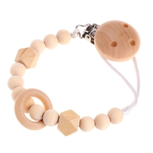 Buy Baby Infant Toddler Dummy Pacifier Soother Nipple Wooden Chain Clip Holder Gift W15 for $1.44 in AliExpress store