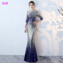 Unique Multi Colors Mermaid Evening Dresses 2018 Sexy Long Evening Party Dress O-Neck Sequin Sashes women formal evening gowns(China)