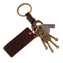 Steam Punk Jewelry Cute Bronze Color Robot Keychain Vintage Leather & Alloy Key Ring Figure Toy Men Women Friend Birthday Gift