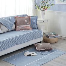 Korean Fresh 100% Cotton Sofa Armrest Towel Cushion Patch Embroidered Floral Stripe Blue Fabric Non-slip Sofa Cover Home Textile