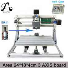 Free Shipping ICROATO Wood Router Engraver 3Axis PCB PVC Milling machine CNC 2418 GRBL control Diy CNC machine+ER11