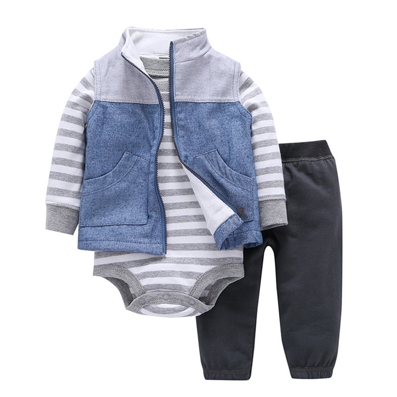 2017 free ship Spring Autumn kids Baby boy Clothing Suit Long Sleeve gray Printing stripe suit  bebes Kids Cotton Set