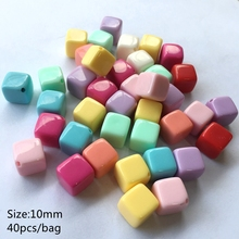 Meideheng Soild Acrylic square cube beads For Jewelry Making DIY Craft Children Necklace Earring parts Accessories 10mm40pcs/bag