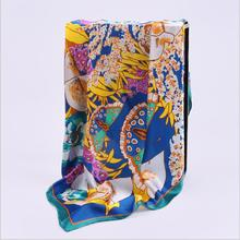 HA826  Women's 100% Mulberry silk pashmina printing scarf  12 momme Silk Satin  90cm*90cm hand screen print made in Hangzhou