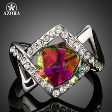 AZORA Latest Brand Design White Gold Color With Gradiente Stellux Austrian Crystal Ring TR0121
