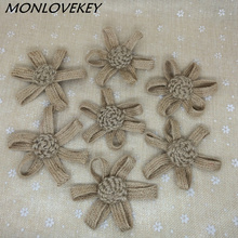 50pcs Handmade Jute Hessian Burlap Flowers Rose Shabby Chic Wedding Decor Event Party Supplies Wholesale(China)