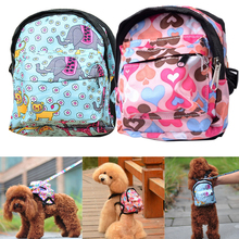 Outdoor Pet Dog Bag Canvas Dog Backpack Heart Animal Pattern Travel Carrier For Dog Puppy Cats With Leash Traction Rope