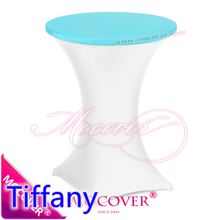 TIffany colour spandex top cover for round cocktail lycra table cloth wedding banquet party cocktail table decoration sale
