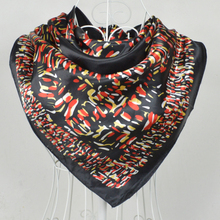 2015 New Arrival Black Silk Scarf Printed For Women,Fashion Women Big Square Silk Scarf Printed 90*90cm Fashion Accessories