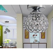 LED 5W  E27 Wrought Iron Welding Spray Paint Absorb Dome Light Modern Ideas Painted Black k9 Crystal Ceiling Lamp Bedroom