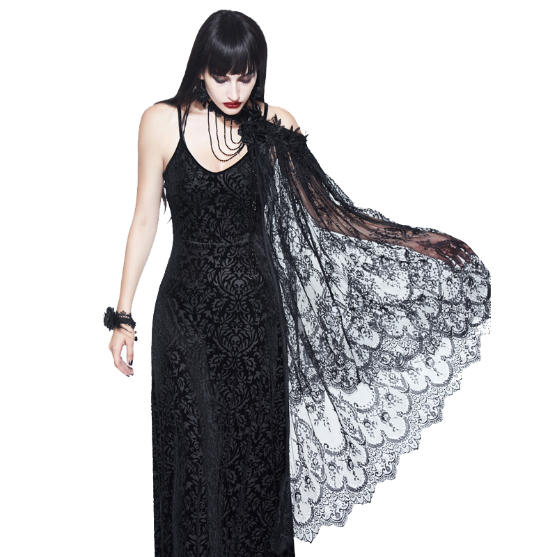 EVA LADY 2018 New Arrival Sexy Lady Shawl Black Lace Gothic Shawl Accessories Cosplay Halloween Party Shawl
