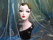 wholesale High quality Fiberglass vintage female mannequin dummy head bust for earrings &wigs & hat & jewelry display(China)