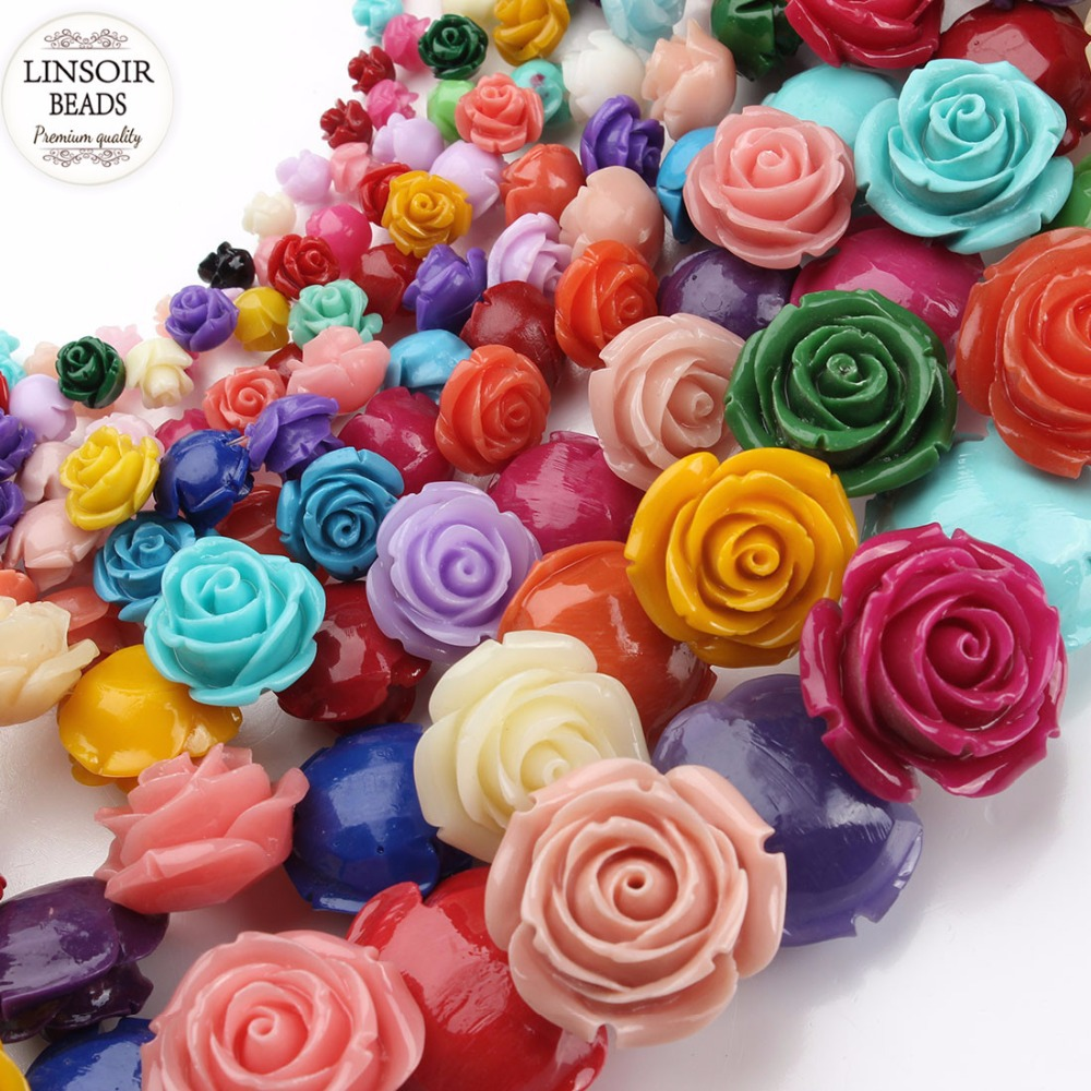 50Pcs 13mm Mixed Color Rose Flower Spacer Loose Beads DIY Jewelry Findings