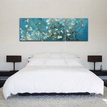 3 Panels Set Blossoming Almond Tree By Van Gogh Wall Art Oil Painting Floral Canvas Print Picture for Living Room Wall Decor