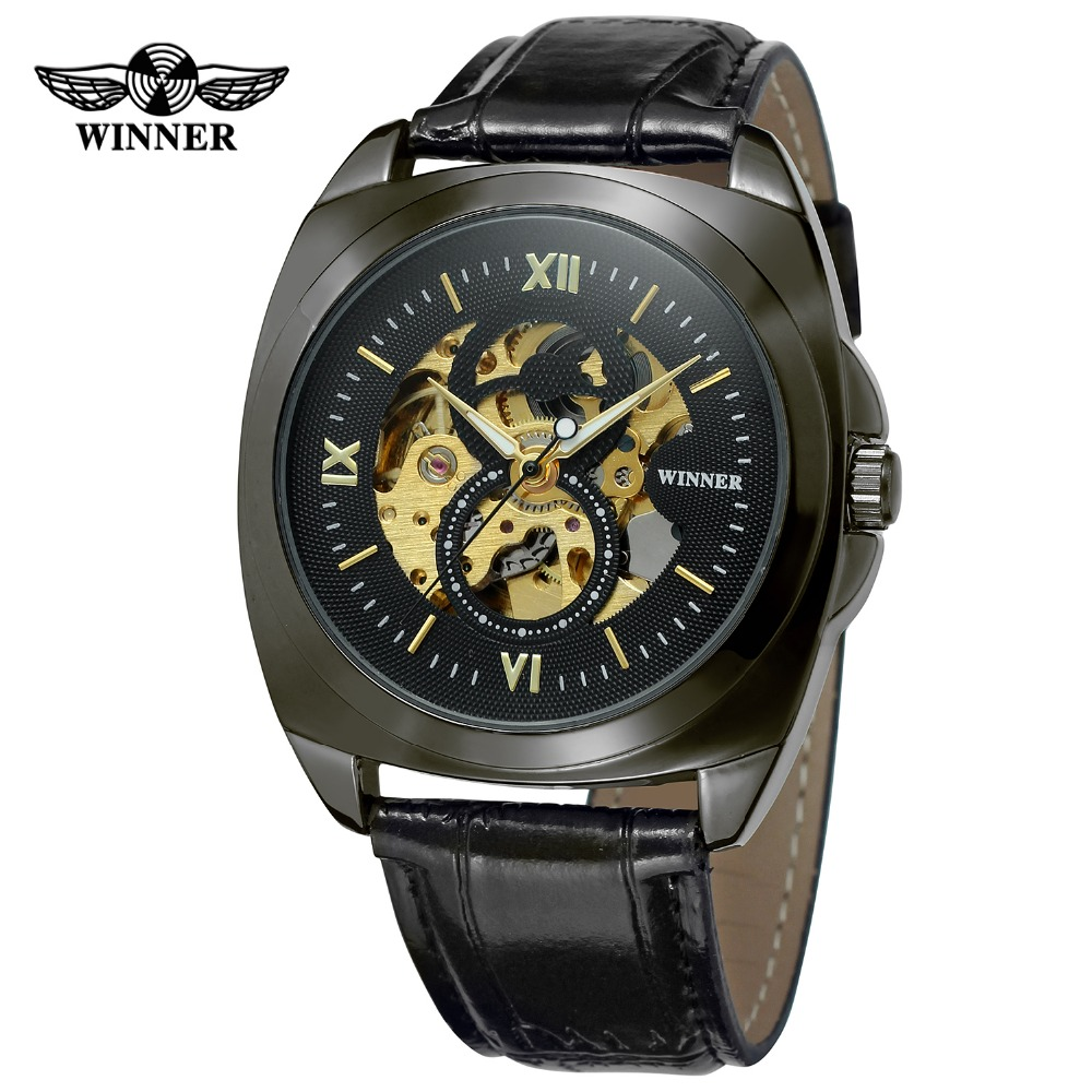 T-WINNER  2017 Mens Original Automatic Movement Skeleton Leather Strap Mechanical Classic Super Quality Wrist Watch WRG8061M3<br>
