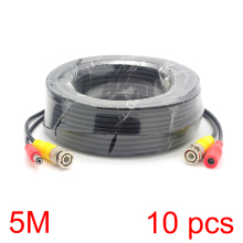10x 5M/16FT BNC DC Connector Power Audio Video AV Wire Cable For CCTV Camera