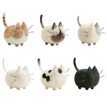 1 Set Non-finished Cats Felt Poke DIY No Face Cats Material Package Wool Felt Poked Doll Free Shipping Felt for Needles(China)