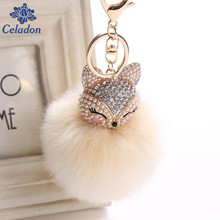 New Arrival Fox's Head Shape Pendant Super Oversized Rabbit Fur Ball Inlay Rhinestone Mobile Phone Bag Pendant Key Chain(China)