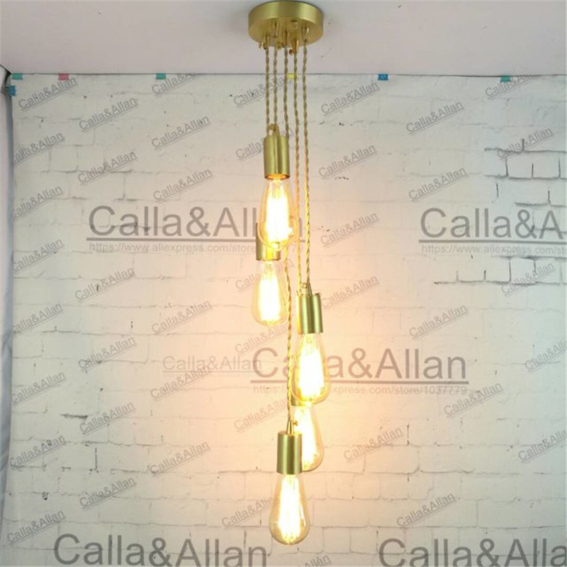 E27 brass material DIY pendant light fixture edison bulb 40W vintage copper fabric wire lighting fixture 1-3-5 arms chandelier<br>