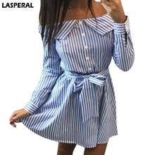 Buy LASPERAL Fashion Women Shoulder Sexy Dress Slash Neck Long Sleeve Shirt Dress Short Mini Striped Beach Dress Casual Vestidos for $7.19 in AliExpress store