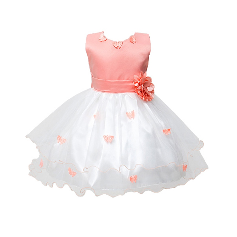 Summer Sweet Girl Sleeveless Floral Butterfly Ball Gown Princess Wedding Party Dresses Tulle Beach Dress<br><br>Aliexpress