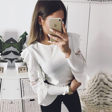 Buy 2018 Sexy Ruffle Lace Blouse Shirt Women Long Sleeve Floral White Blouses Female Tops Elegant Fashion Blouse Shirts blusas femme for $8.96 in AliExpress store