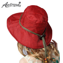 [AETRENDS] 2017 New Women's Cotton Linen Sun Hats Summer Beach Hat Panama Caps 12 Solid Colors Z-5189()