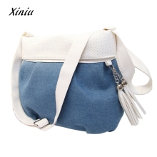 2017 Women Messenger shoulder Bag Women Lady Denim Messenger Hobo Bag Shoulder Bags Tote Purse bag(China)