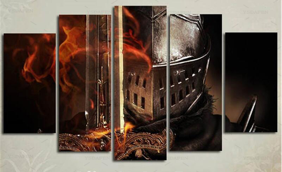 Graphic Design Muur : 5 panel dark souls film posters moderne home muur decor schilderen