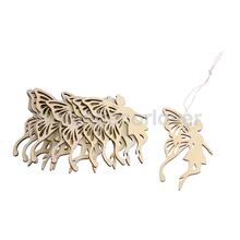 10pcs Wood Fairy Butterfly Laser Cut Ornament Embellishment Scrapbooking Art Craft Tag with String Hanging
