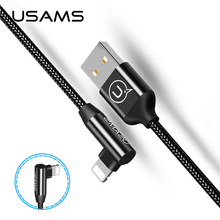 USAMS 90 Degree Bending Cable iPhone X 8 7 6 Phone Data 2A USB Cable L Type 1.2M Nylon Sync Data fast Charging Cable R35