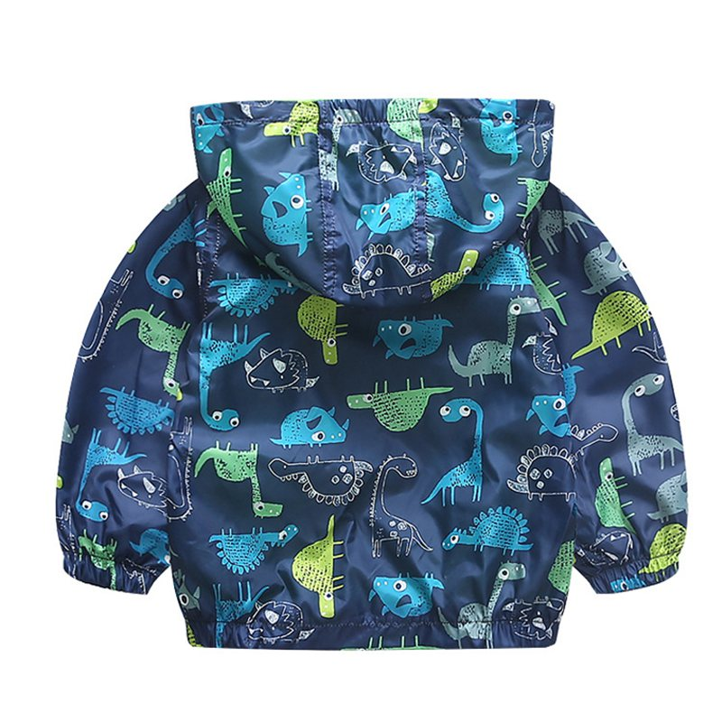 COOTELILI 80-120cm Spring Autumn Dinosaur Windbreaker Kids Jacket Boys Outerwear Coat Hooded Baby Clothing For Boys (5)