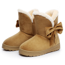 Women Shoes Female Warmer Plush Bowtie Fur Suede Rubber Flat Slip On Ankle Snow Boots Women Winter Fashion Platform Women Boots(China)