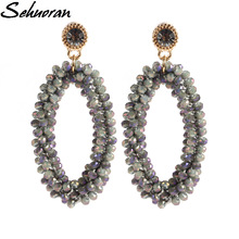 2017Fashion Bohemian crystal Long Earrings Unique Natural Traditional Crafts Knitting Large Earrings Women's Fine Jewelry Gifts