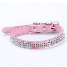 3 Rows Bling Rhinestone Small Pet Dog PU Leather Buckle Cute Cat Crystal Collar()