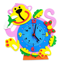 3D Cartoon Animal Learning Clock Puzzle Toys DIY Kids Arts Crafts Kits Birthday Educational Toys Randomly Sent