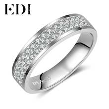 EDI Classic Pave Diamond Band For Man Women 14k 585 White Gold 0.32cttw Round Cut H/SI Natural Diamond Ring Unisex Fine Jewelry(China)