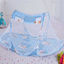 3 Colors Portable Baby Bed Crib Folding Mosquito Net Cushion Mattress Summer Baby Infants Mosquito Polyester Mesh Crib Netting(China)