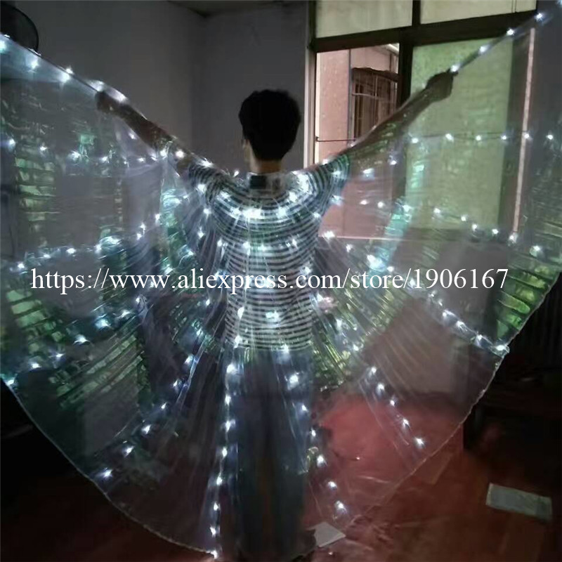 2017 Stafe Performance Prop Women Dancewear Girls DJ LED Wings Light Up Wings Belly Dance Wing Costume02