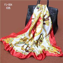 90X90cm Twill Silk Scarf Big Size Fashion Brand Silk Polyester Blend Square Scarves 2015 High Quality Cheap Women Head Shawl