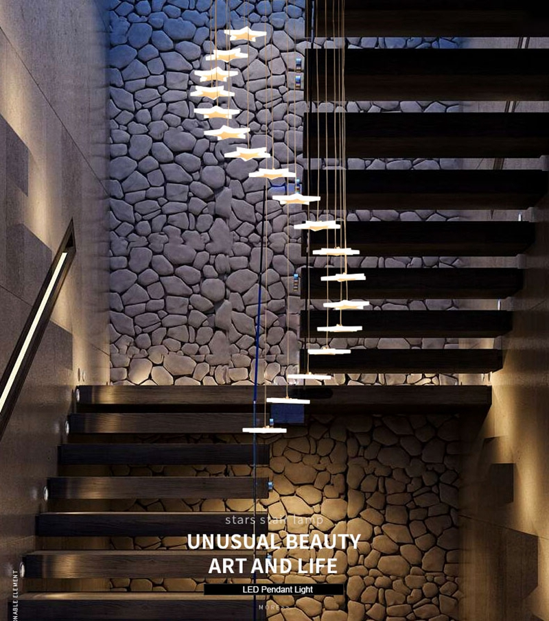 Modern Duplex Staircase LED Pendant Lights Personality 18 Stars Hanging Lamps Minimalist Rotaion Staircase Lamp Living Room Lighting (1)