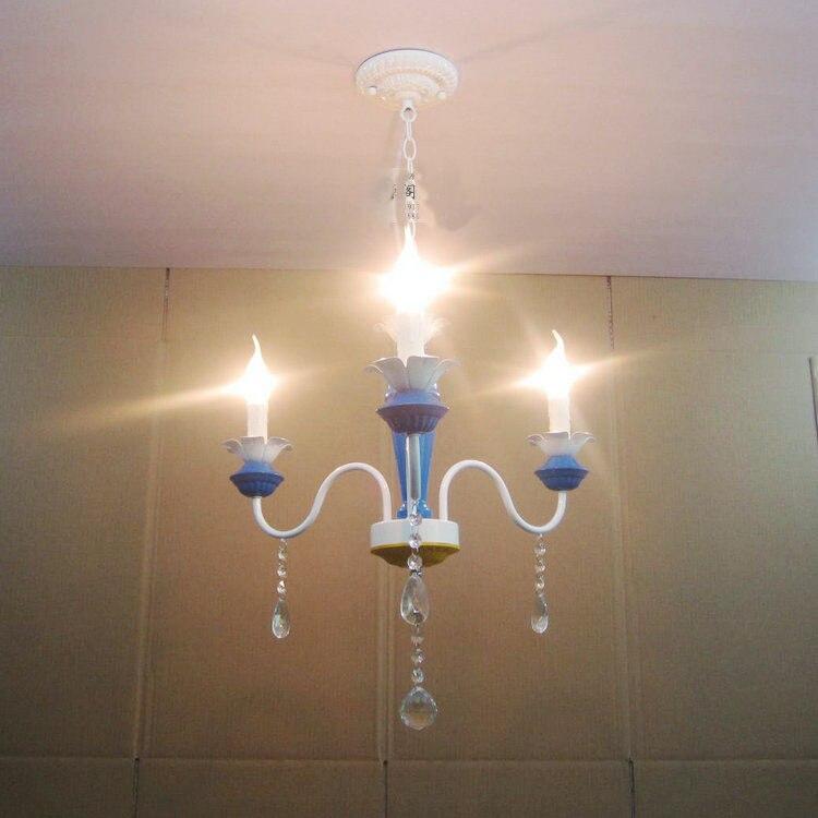 European 21 Blue Painted Iron Lamp Body Bedroom Chandeliers 3 Lights Corridor Balcony Restaurant Chain Chandelier Fixtures<br><br>Aliexpress