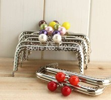 Freeshipping Super lovely 10CM silver lace Candy bead head Metal Purse frame Kiss Clasp 8pcs/lot(China)