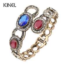 Kinel Vintage Jewelry Wholesale Antique Gold Cuff Bangles Mosaic Oval Blue Crystal Fashion Love Bracelet For Women Party Gift(China)